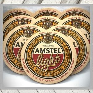 Vintage Amstel Light Beer Coasters
